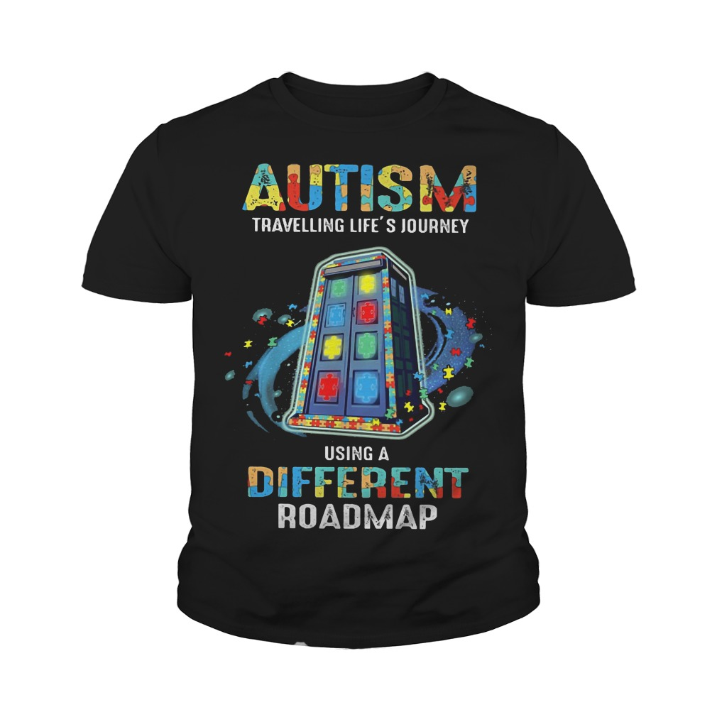 Autism traveling life's journey using a different roadmap youth tee