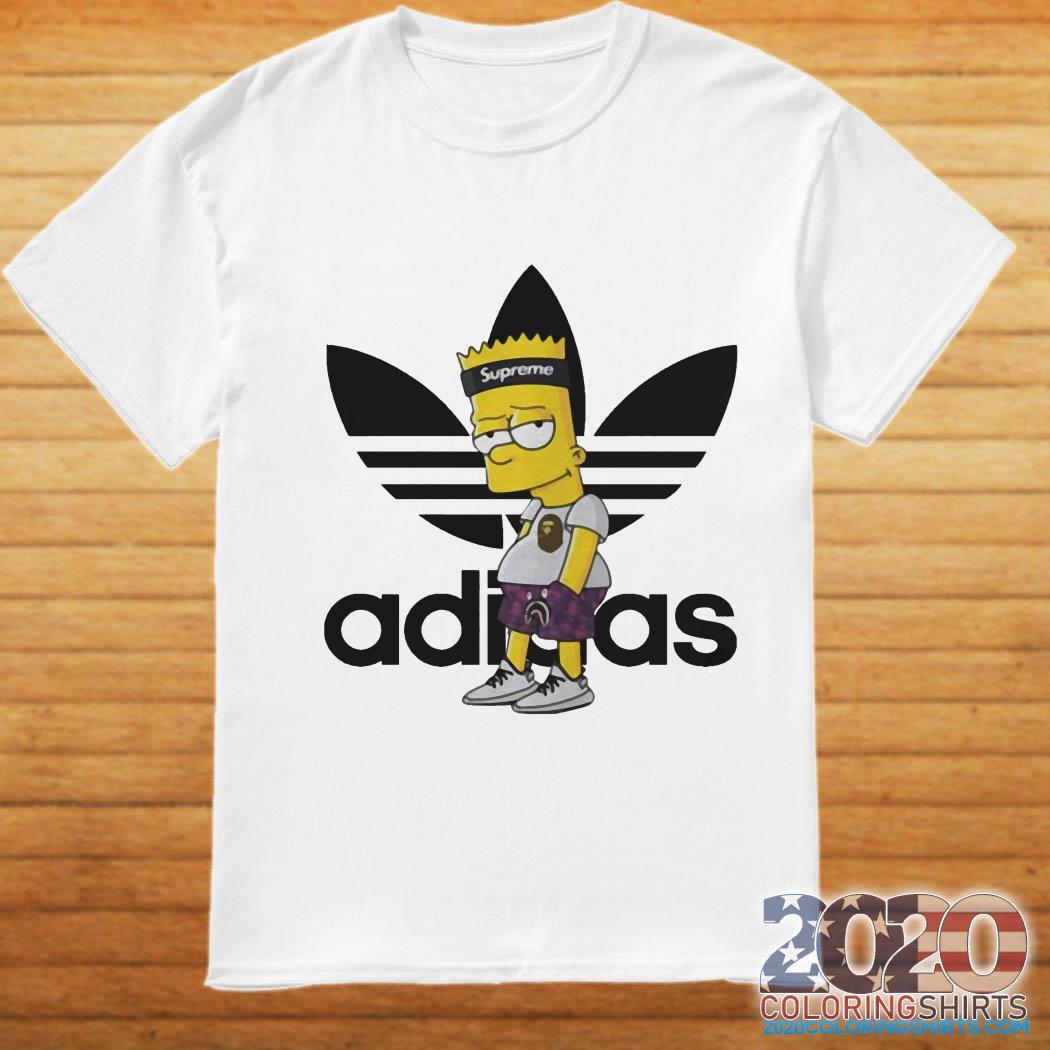 Supreme Bart Simpson with adidas Yeezy shirt, hoodie, tank ...