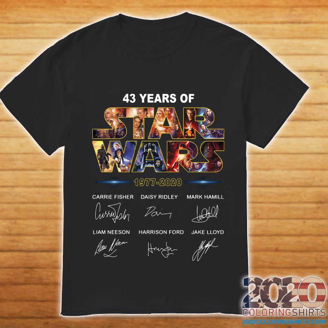 43-years-star-war-1977-2020-carrie-fisher-daisy-ridley-mark-hamill-liam-neeson-harrison-ford-jake-lloyd-signaturshirt