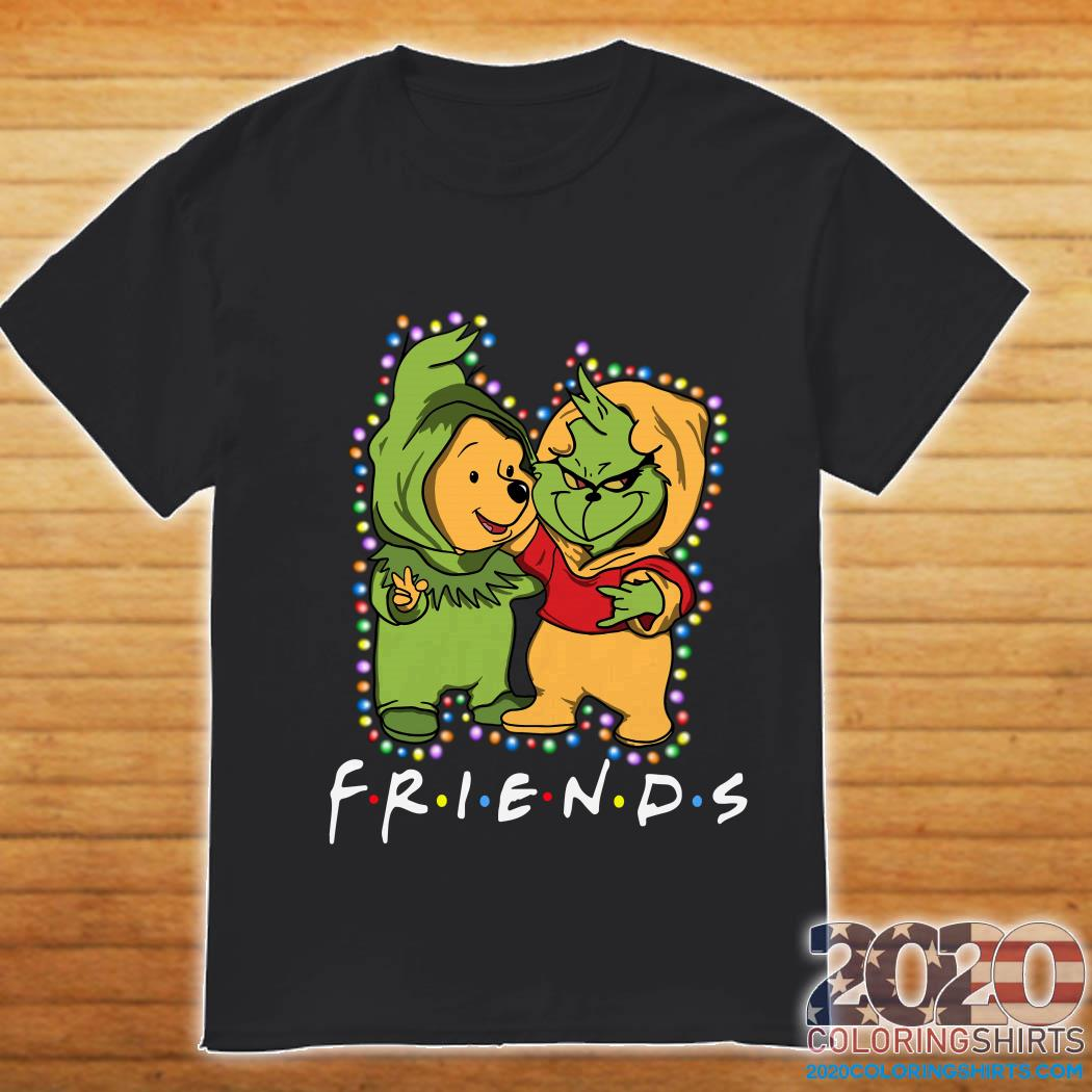 Friends Grinch and Pooh christmas light shirt
