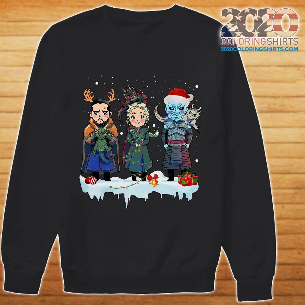Jon Snow Daenerys Targaryen Night King chibi christmas sweatshirt