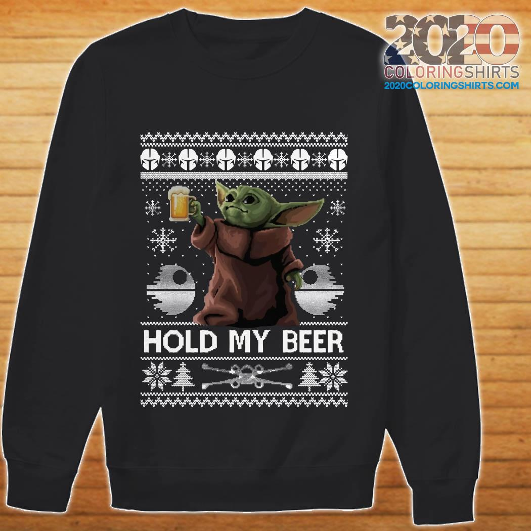 Baby Yoda hold my beer ugly christmas sweater