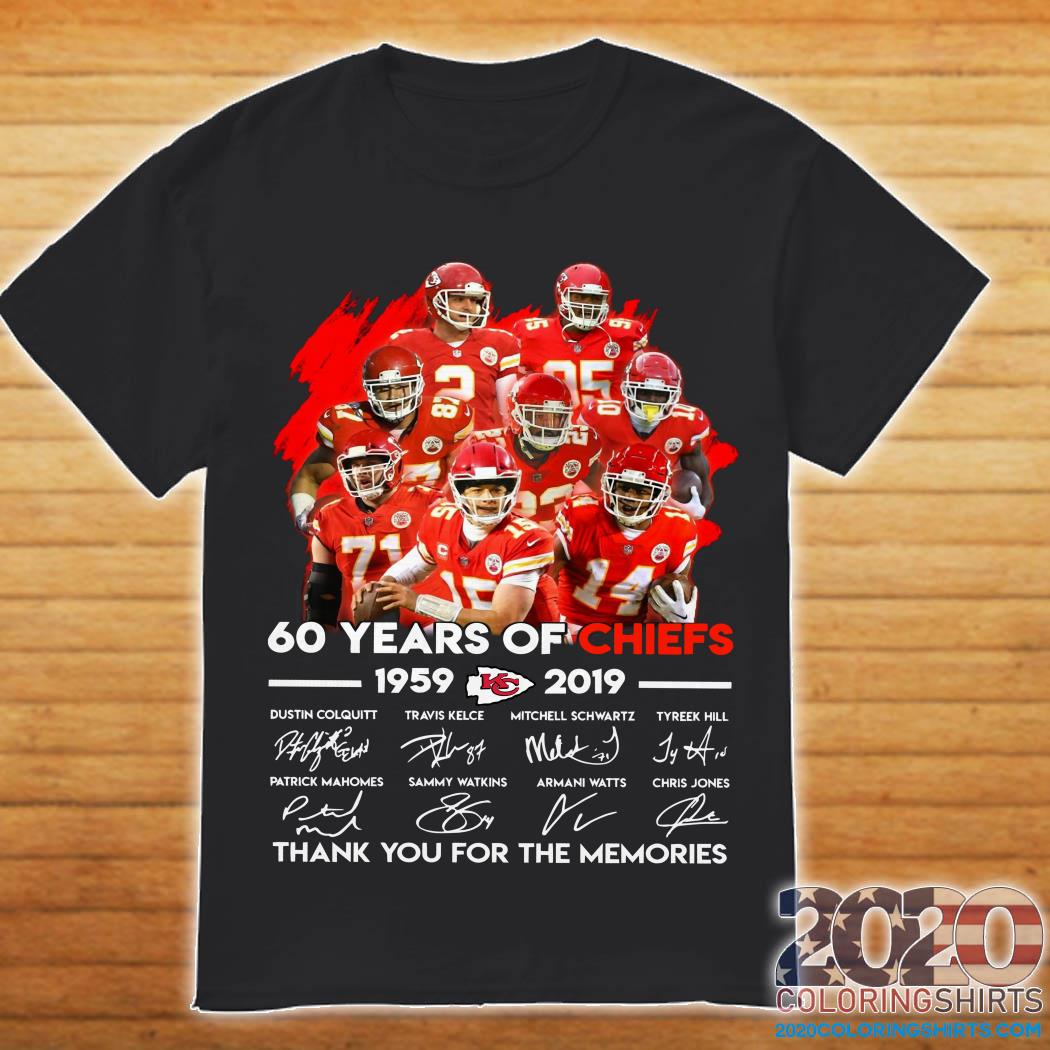 62 Years of Chiefs 1959 2019 thank you for the memories shirt