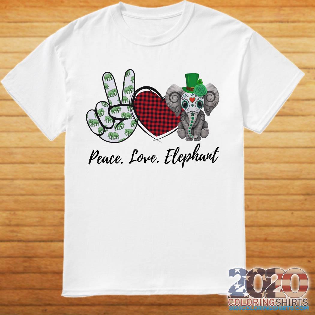 Peace Love Lucky Elephant Irish Shirt