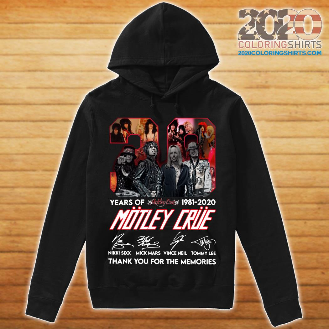 39 Years Of Motley Crue 1981 2020 Thank You For The Memories Signatures Shirt hoodie
