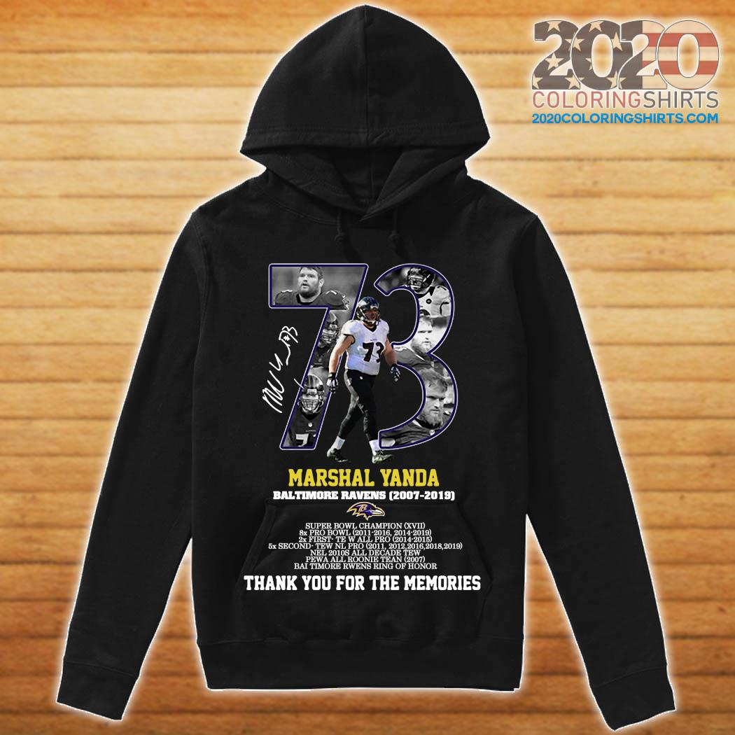 73 Marshal Yanda Baltimore Ravens 2007 2019 Thank You For The Memories Signature Shirt hoodie
