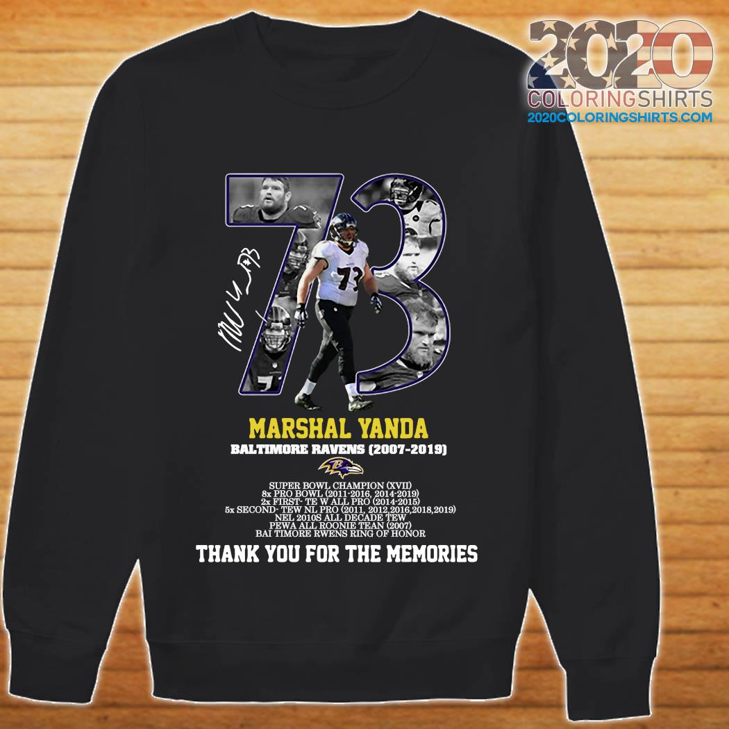 73 Marshal Yanda Baltimore Ravens 2007 2019 Thank You For The Memories Signature Shirt sweater