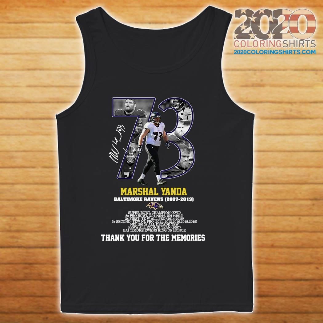 73 Marshal Yanda Baltimore Ravens 2007 2019 Thank You For The Memories Signature Shirt tanktop