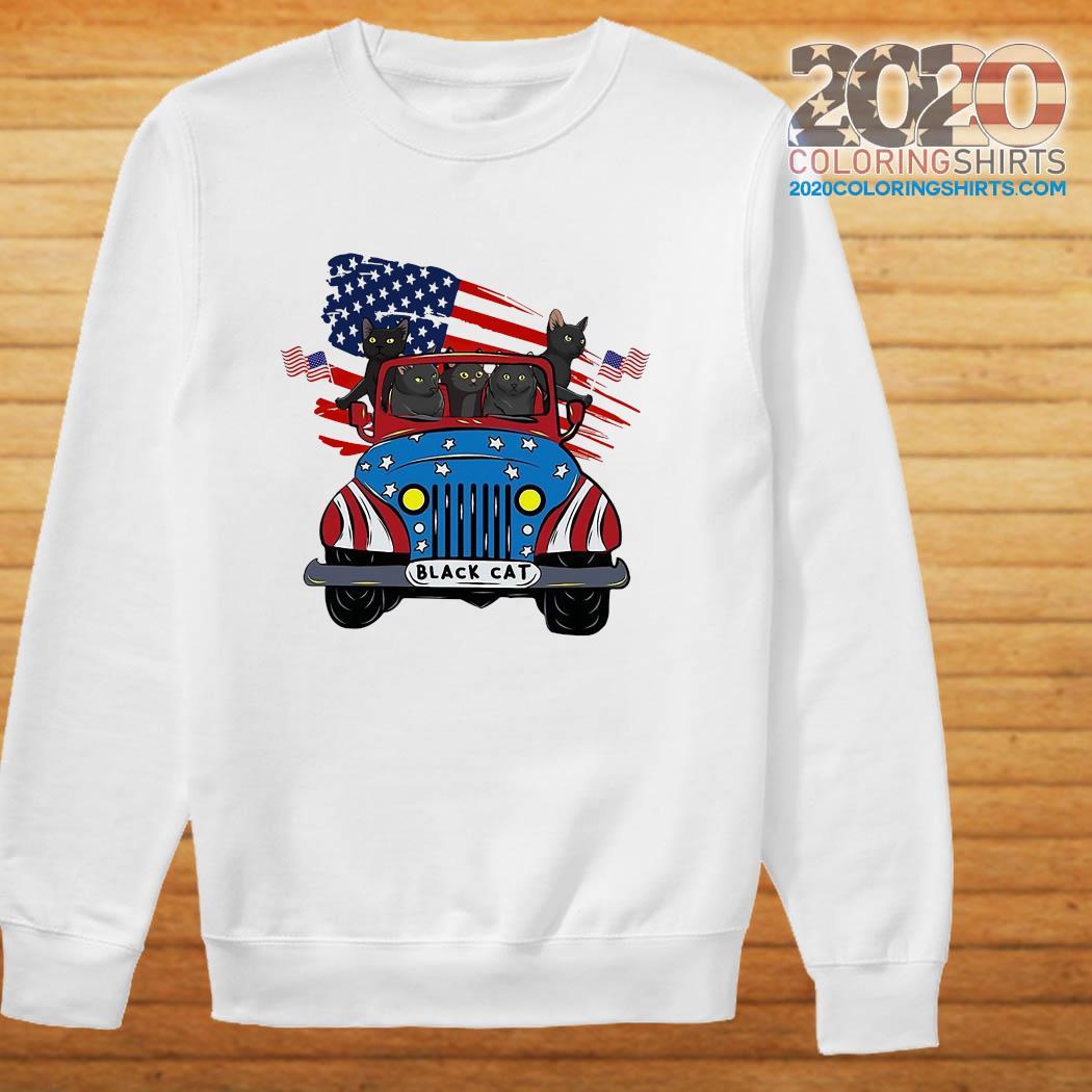 Black Cats Driving Car American Flag Shirt sweater