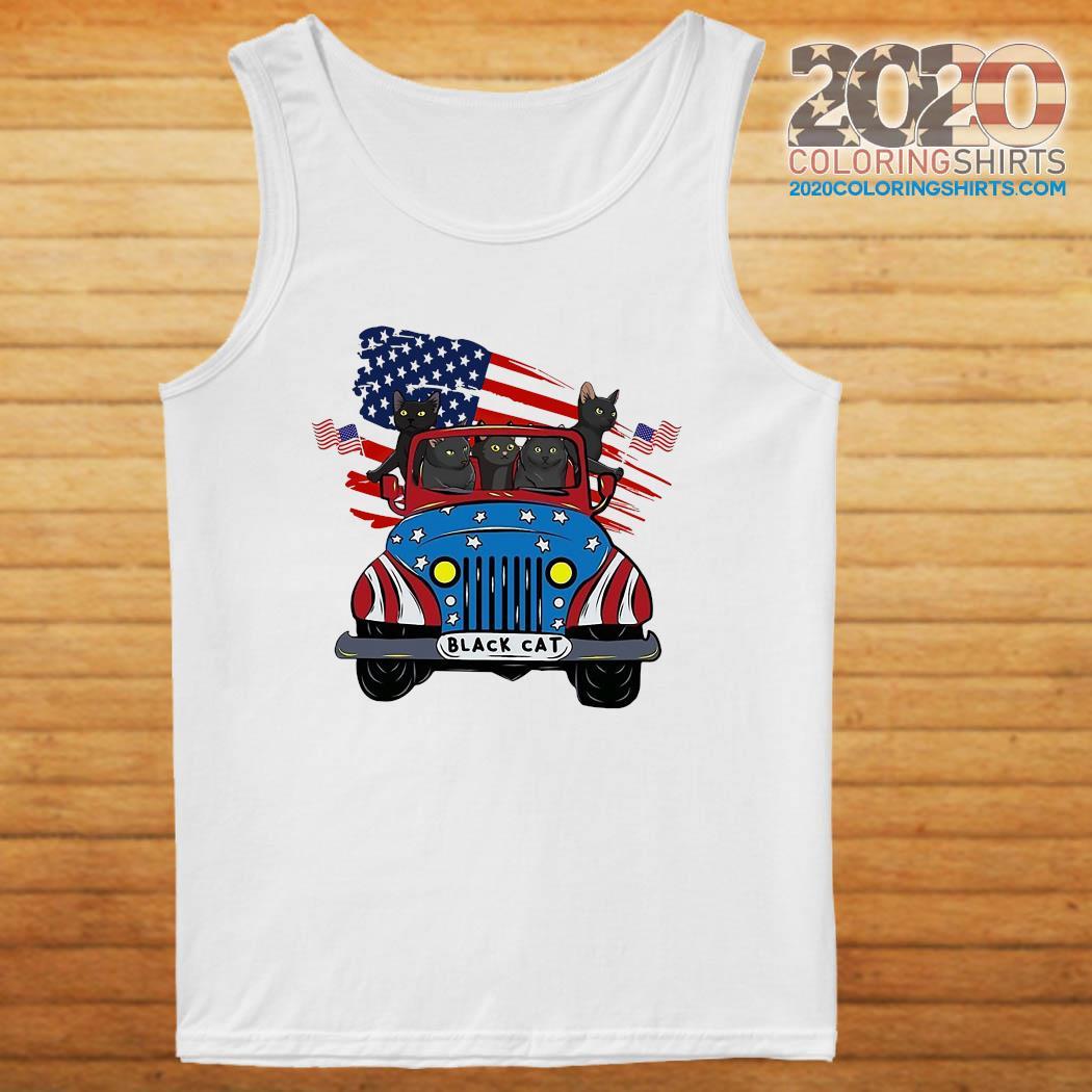 Black Cats Driving Car American Flag Shirt tanktop