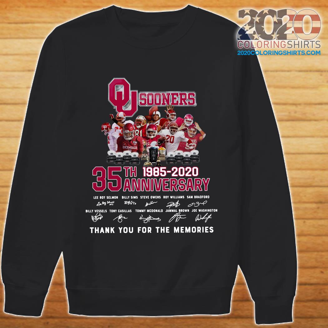 Qu Sooners 35th Anniversary 1985 2020 Thank You For The Memories Signatures Shirt sweater