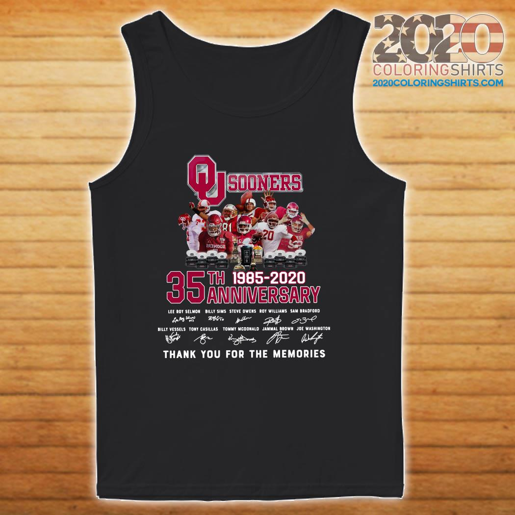 Qu Sooners 35th Anniversary 1985 2020 Thank You For The Memories Signatures Shirt tanktop