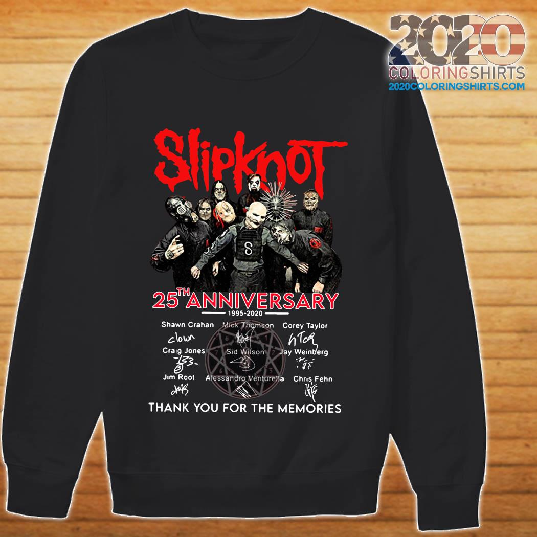 Slipknot 25th Anniversary 1995 2020 Thank You For The Memories Signatures Shirt sweater