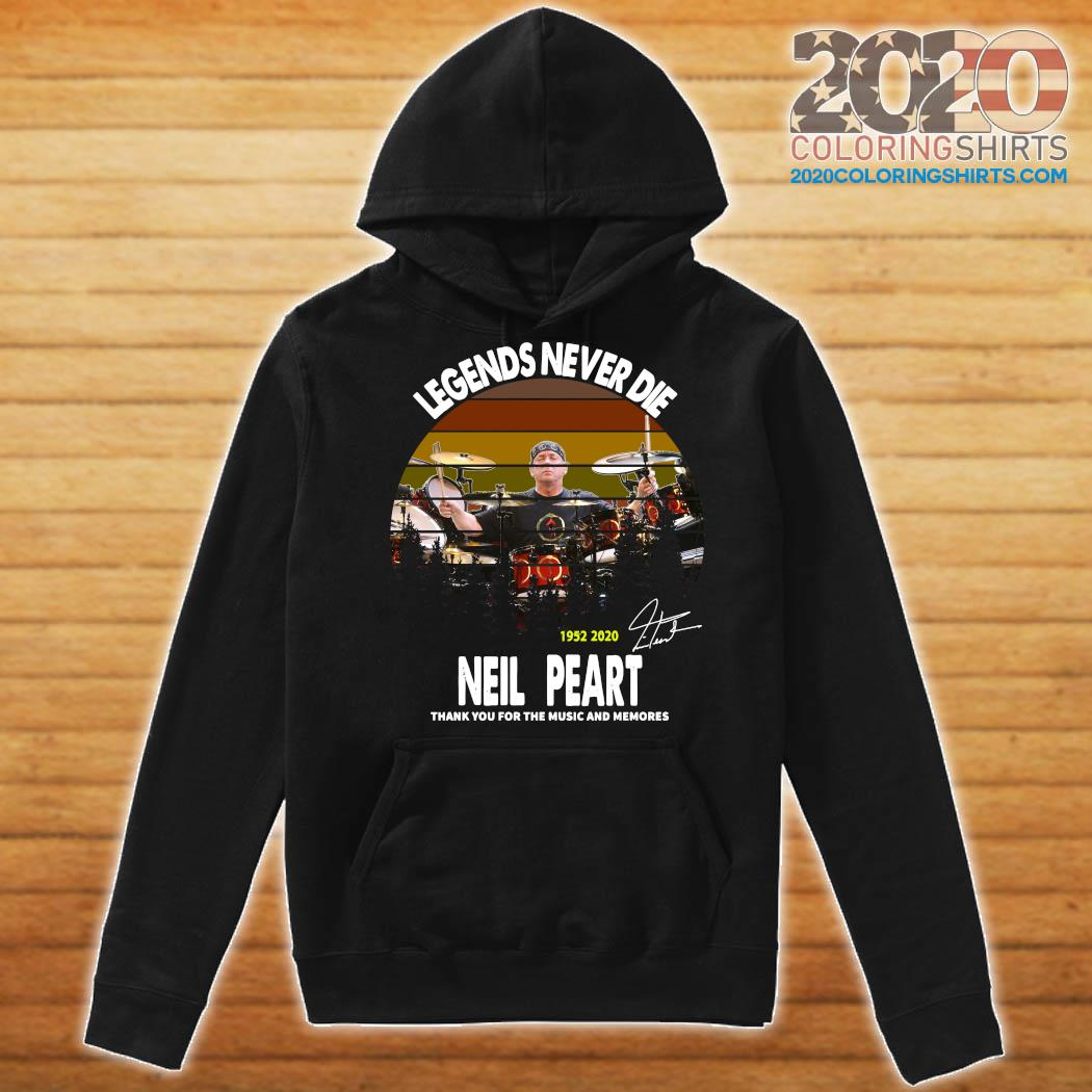 Legends Never Die 1952 2020 Neil Peart Thank You For The Music And Memories Signature Vintage Shirt Hoodie