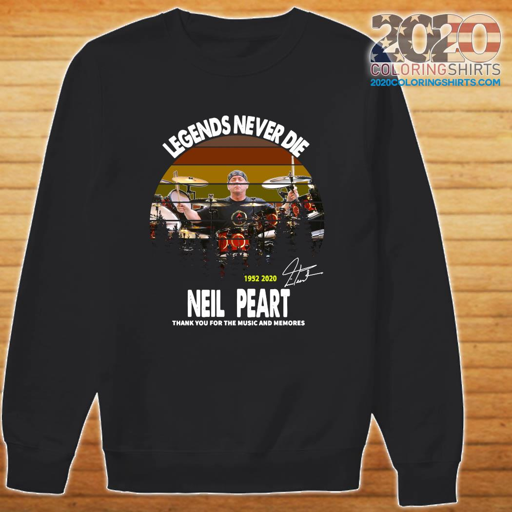 Legends Never Die 1952 2020 Neil Peart Thank You For The Music And Memories Signature Vintage Shirt Sweater