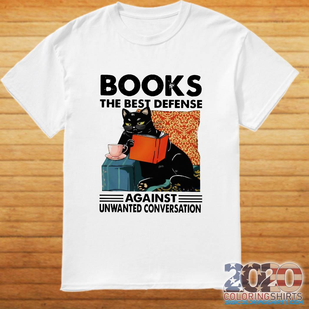 Black Cat Books The Best Defense Against Unwanted Conversation Shirt