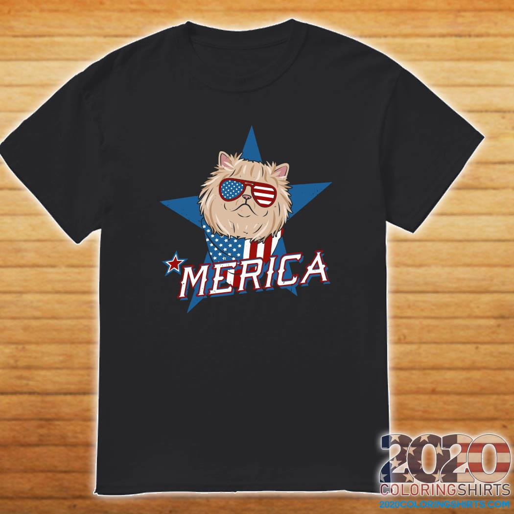 Persian Cat Merica American Flag Shirt