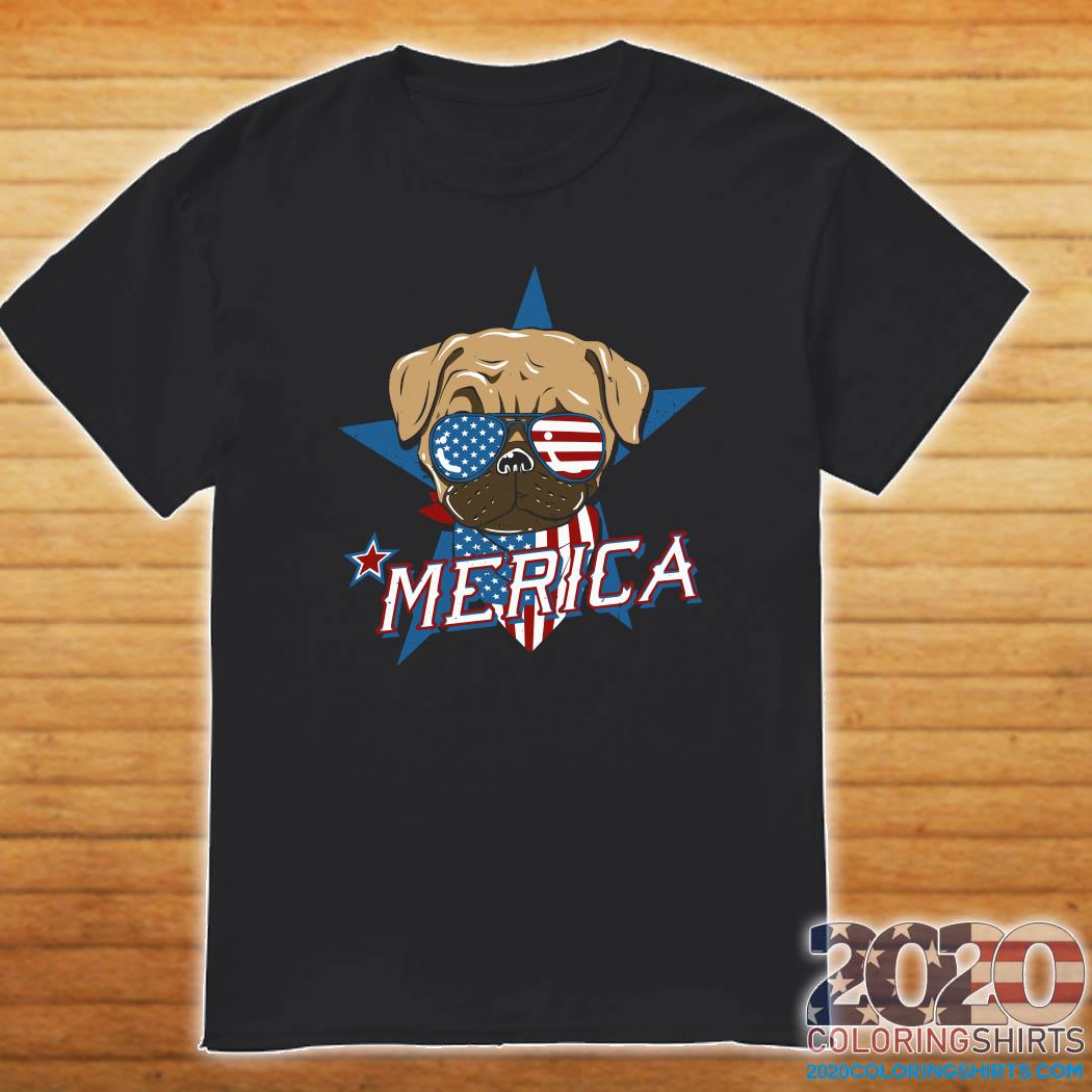 Pug Merica American Flag Shirt