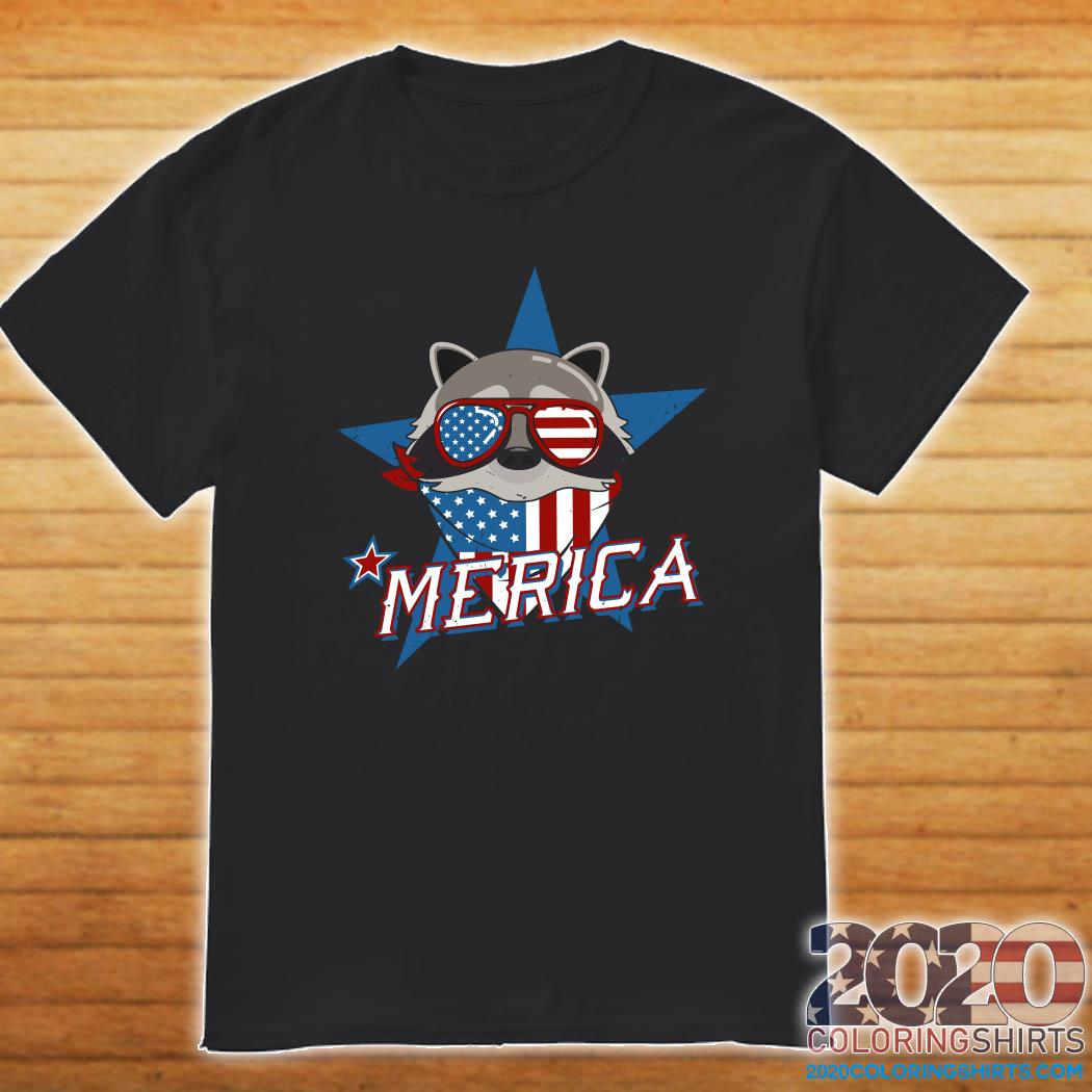 Raccoon Merica American Flag Shirt