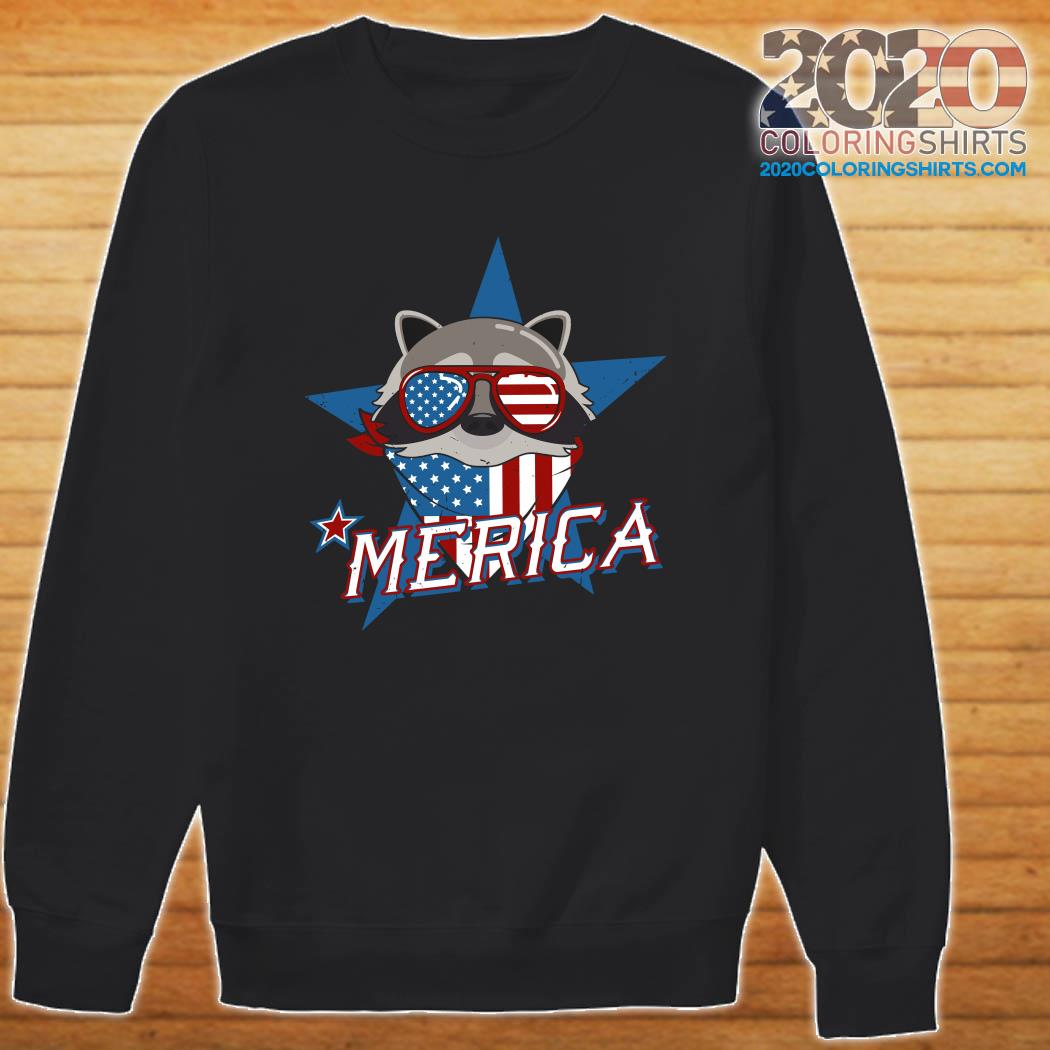 Raccoon Merica American Flag Shirt Sweater