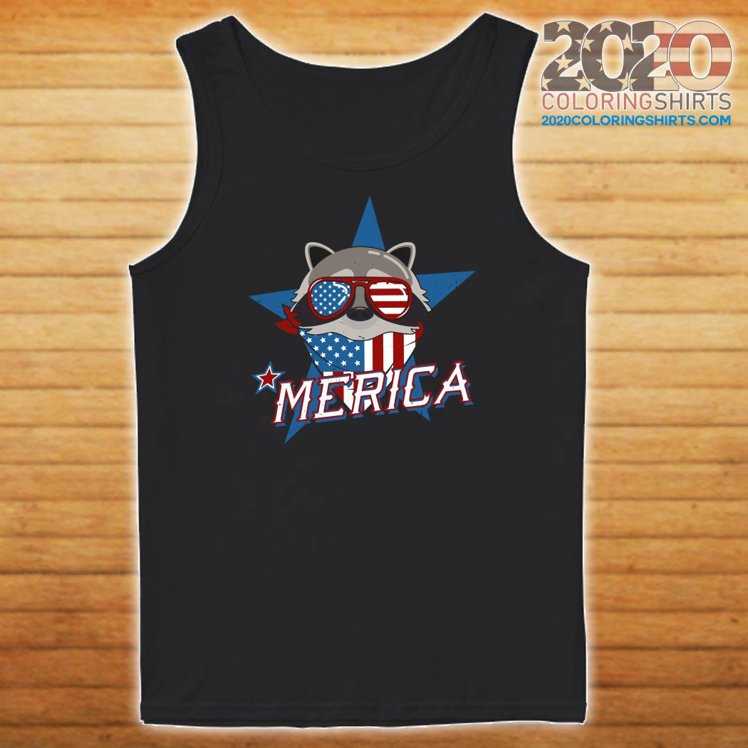Raccoon Merica American Flag Shirt Tank top