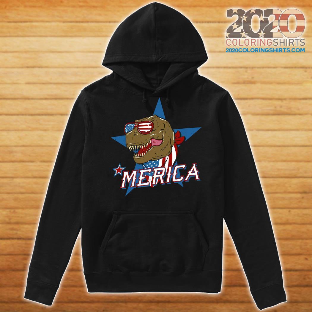 T-rex Dinosaur Merica American Flag Shirt Hoodie