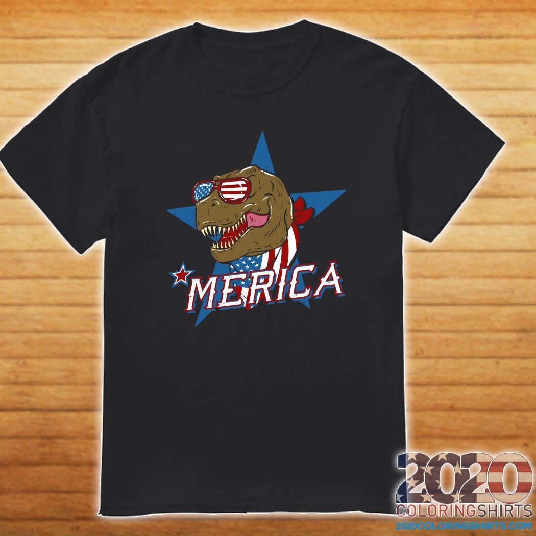 T-rex Dinosaur Merica American Flag Shirt