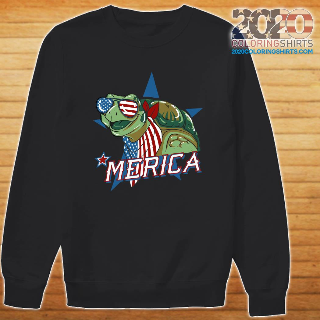 Turtle Merica American Flag Shirt Sweater