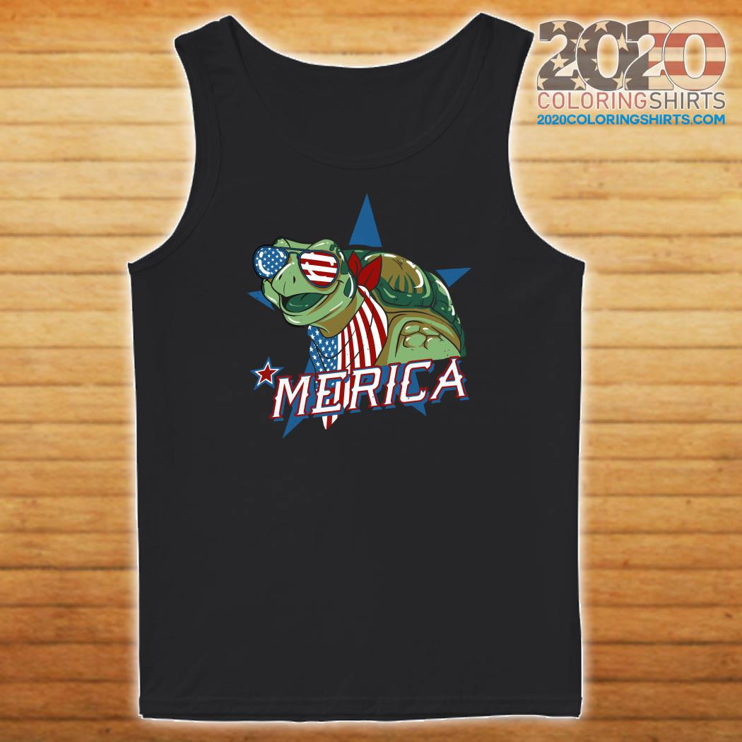 Turtle Merica American Flag Shirt Tank top
