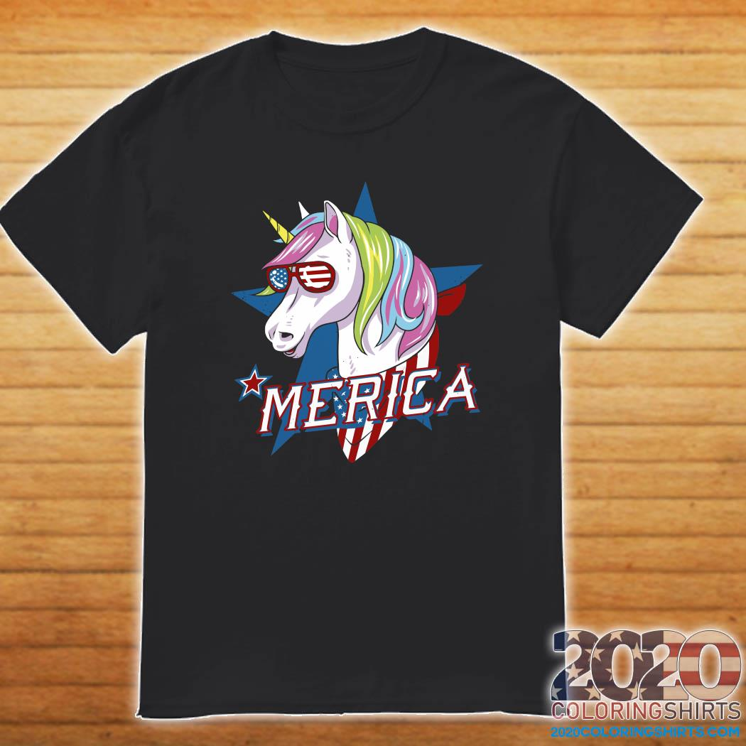Unicorn Merica American Flag Shirt