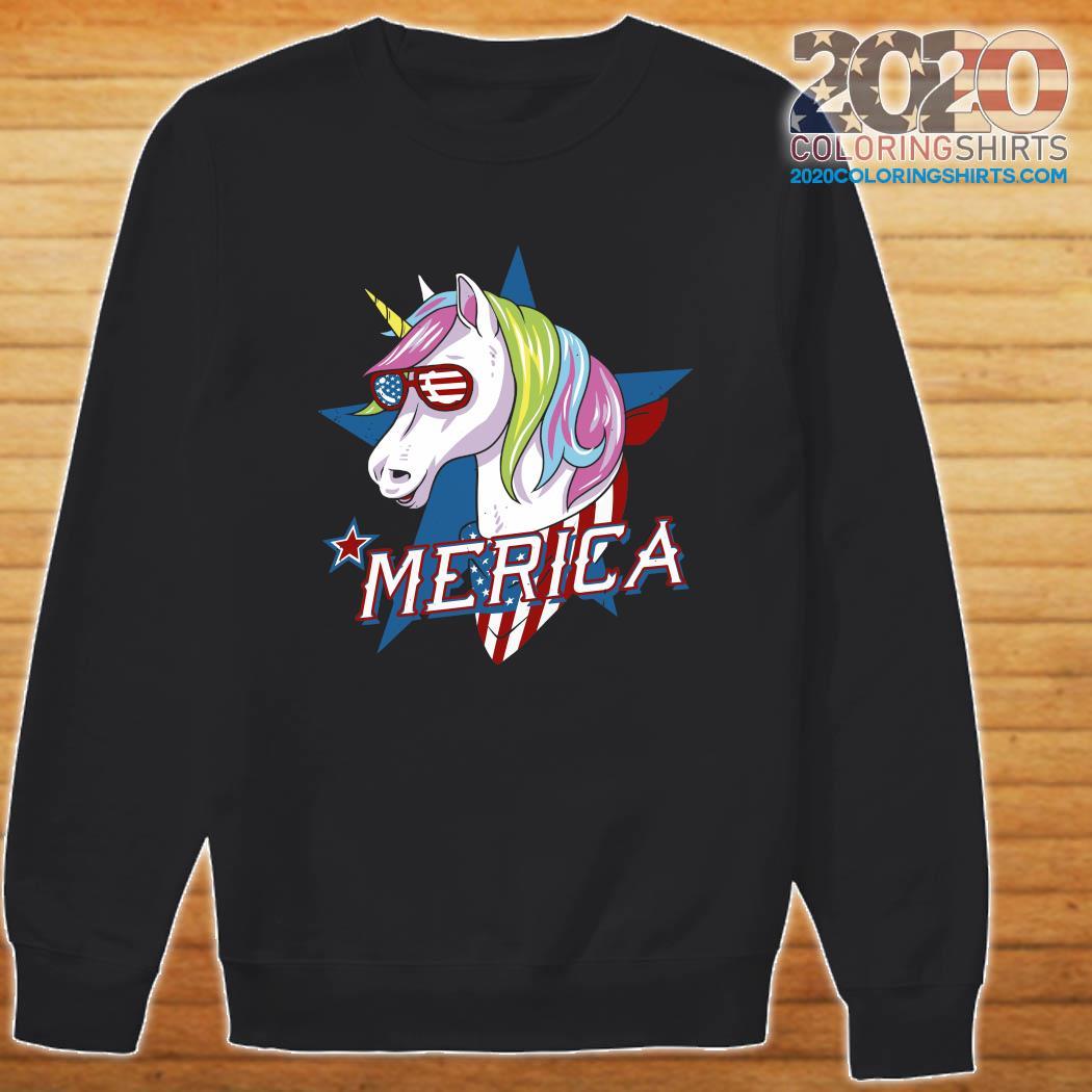 Unicorn Merica American Flag Shirt Sweater
