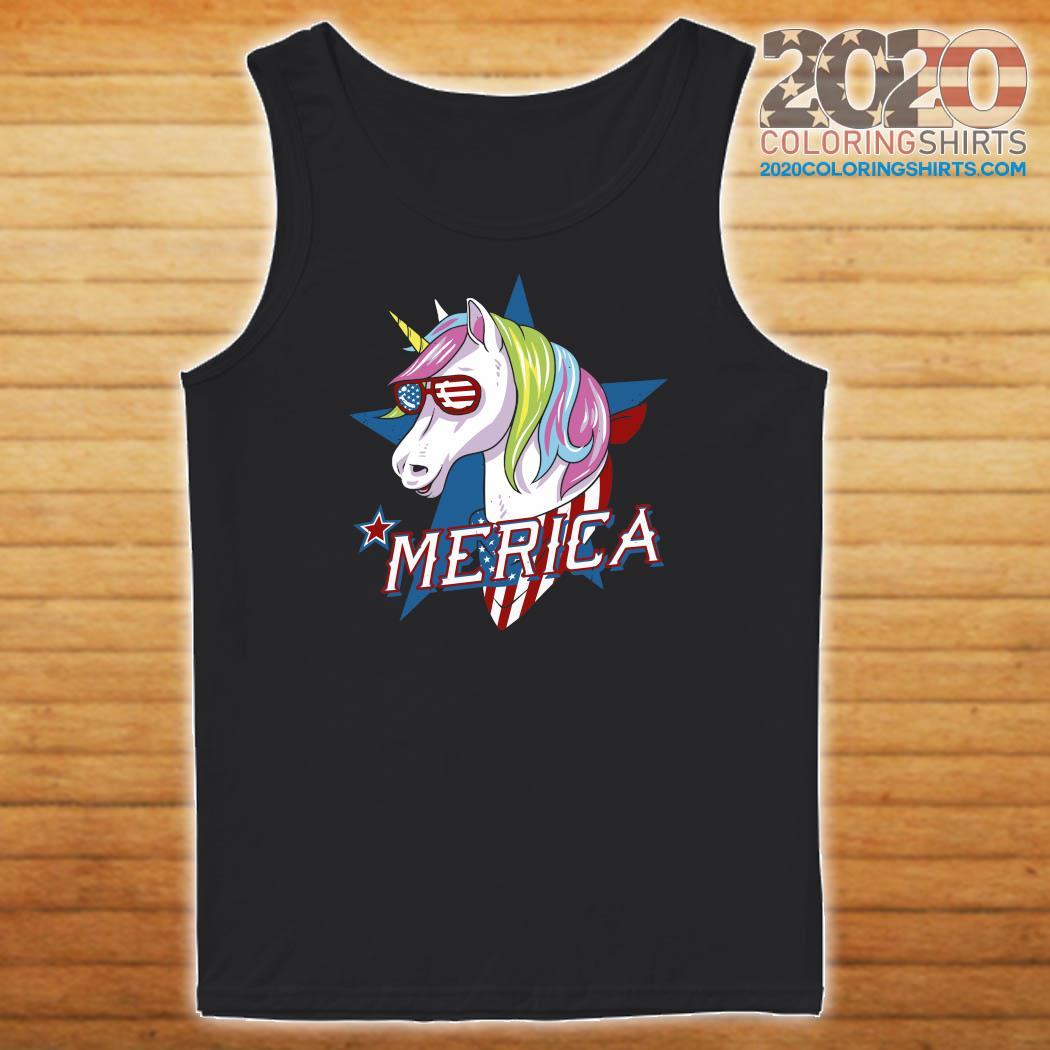 Unicorn Merica American Flag Shirt Tank top