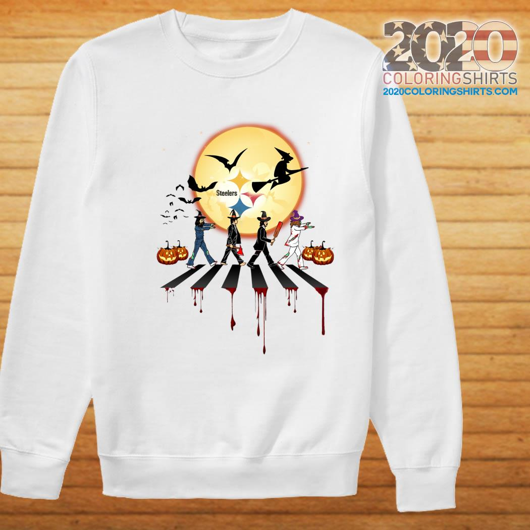 Steelers Halloween 2020 The Steelers Walking Abbey Road Moon Pumpkin Halloween Shirt