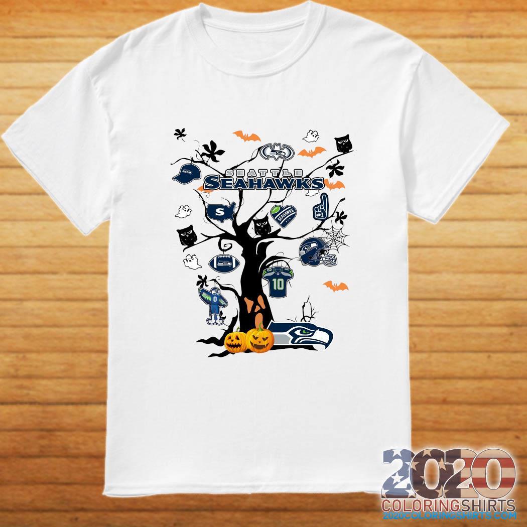 Seattle Halloween 2020 Seattle Seahawks Tree Pumpkin Halloween Shirt   2020 Coloring Shirts