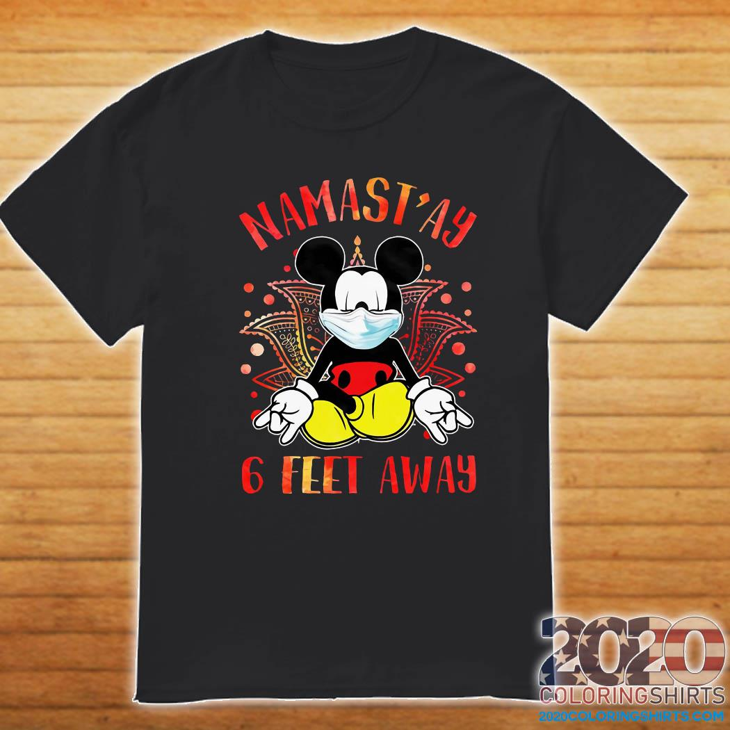 Mickey Mouse Face Mask Yoga Namastay 6 Feet Away Shirt