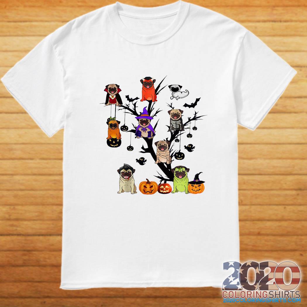 Pug Dog Halloween Tree Shirt