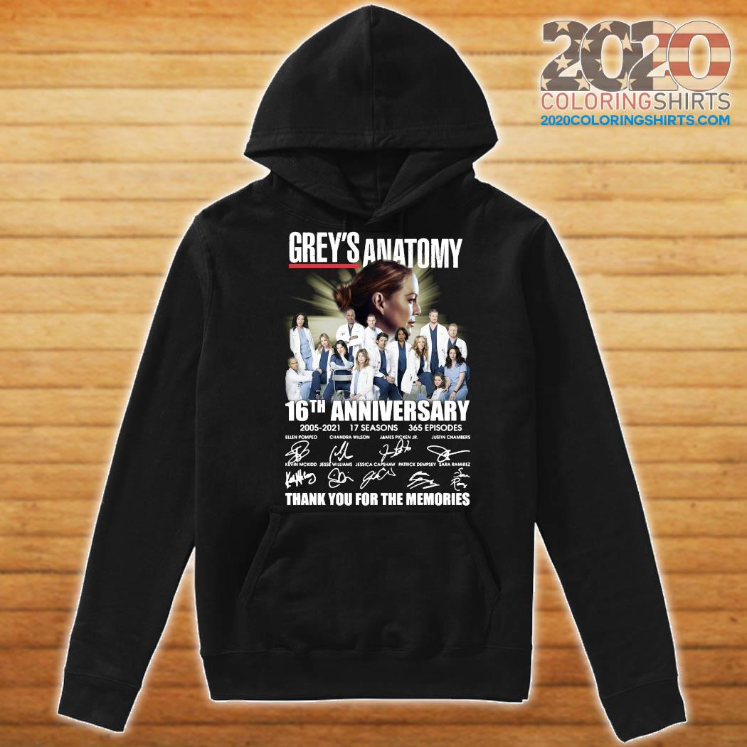 Grey's Anatomy 16th Anniversary 2005 2021 17 Seasons 365 Episodes Thank You For The Memories Signatures Shirt Hoodie