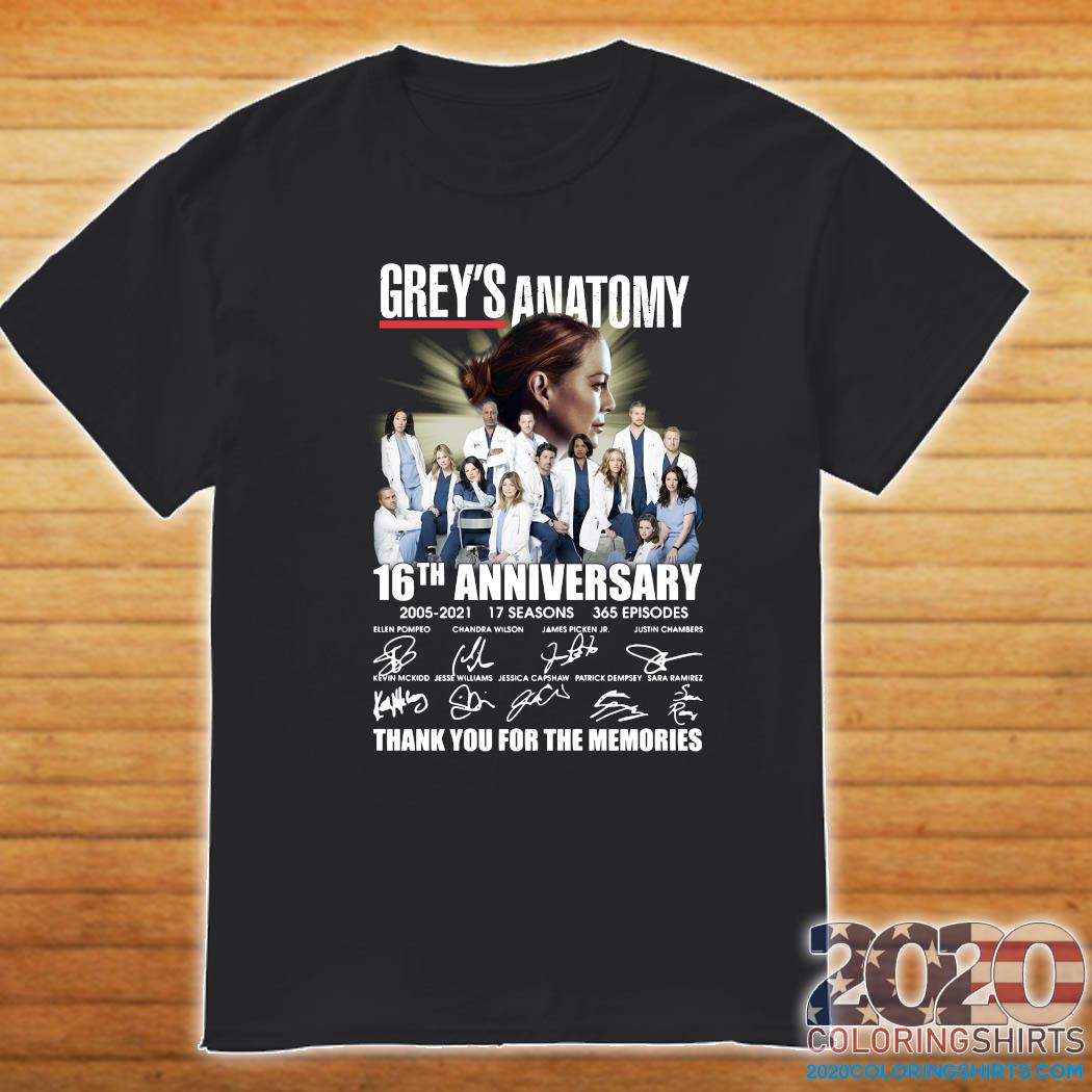 Grey's Anatomy 16th Anniversary 2005 2021 17 Seasons 365 Episodes Thank You For The Memories Signatures Shirt