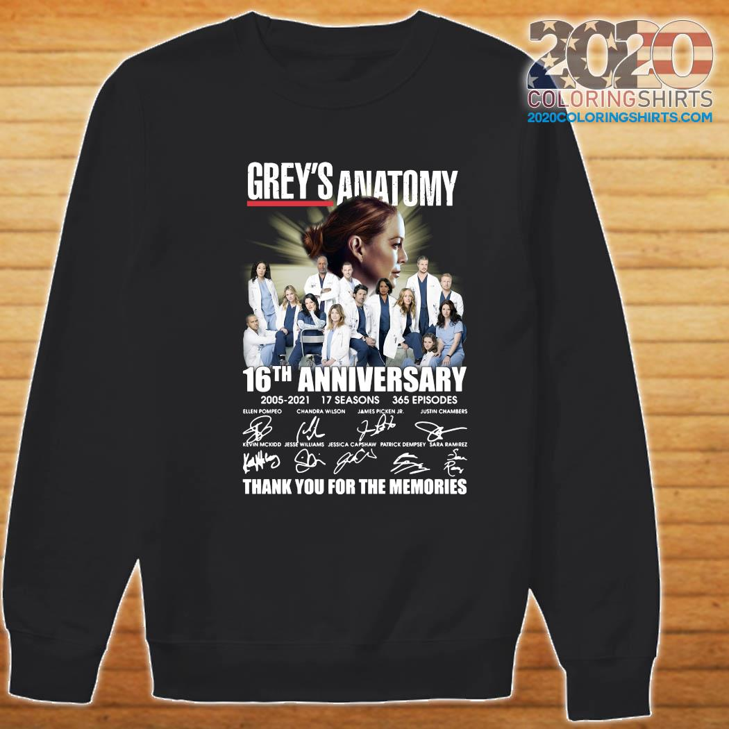 Grey's Anatomy 16th Anniversary 2005 2021 17 Seasons 365 Episodes Thank You For The Memories Signatures Shirt Sweater