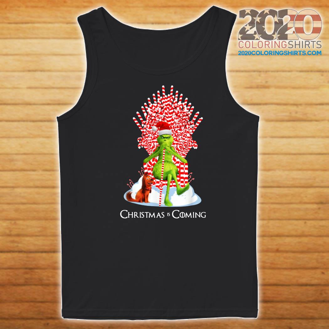 Grinch Christmas Is Coming Candy Cane Throne SweatShirt ...