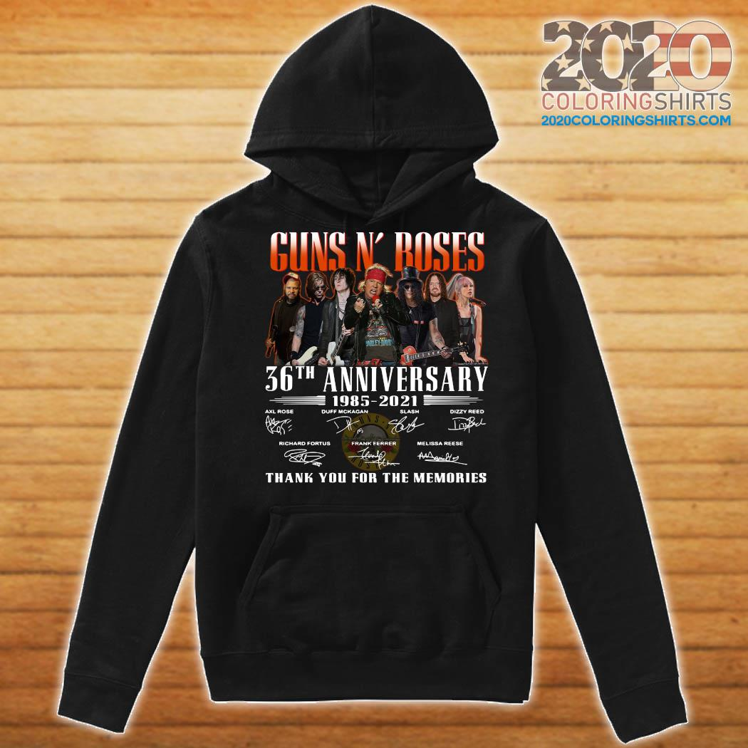 Guns N' Roses 36th Anniversary 1985 2021 Thank You For The Memories Signatures Shirt Hoodie