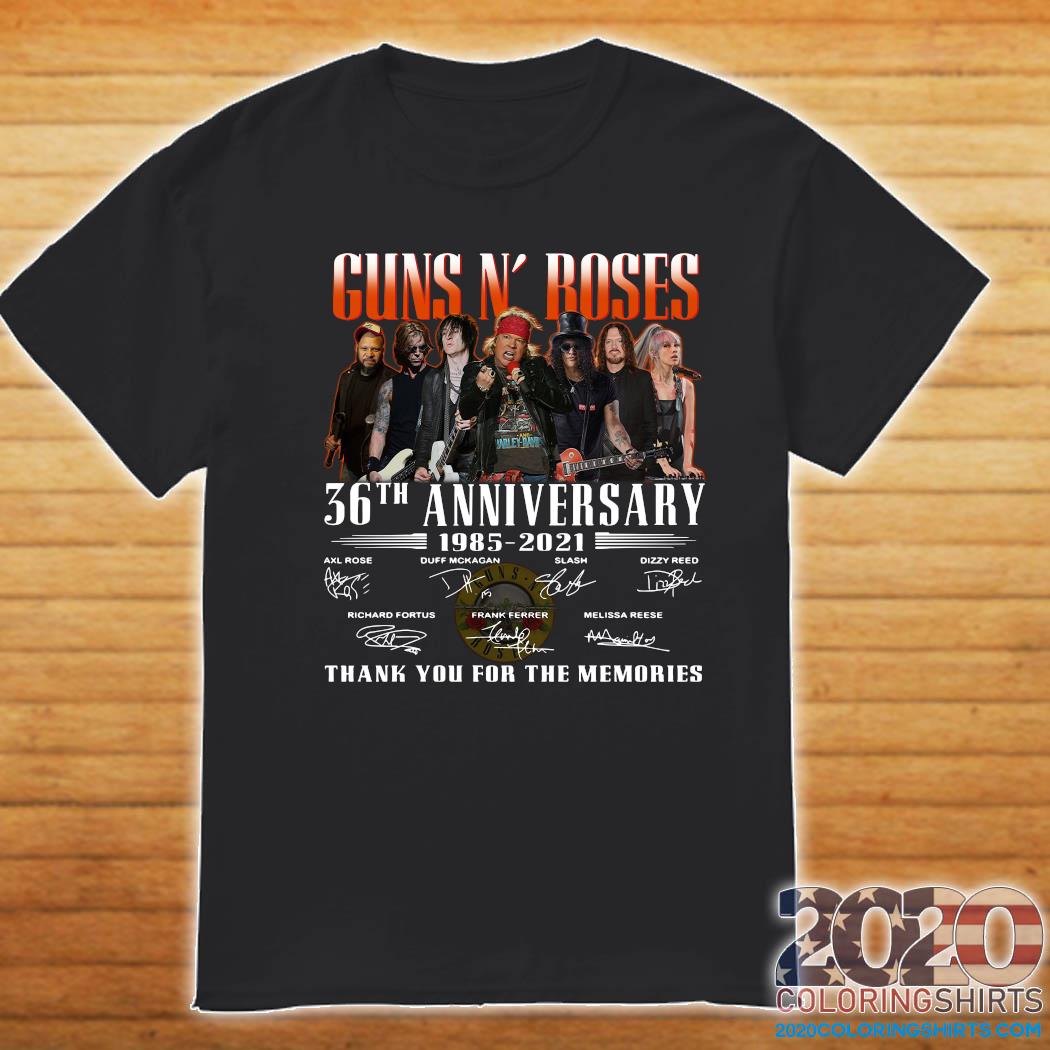 Guns N' Roses 36th Anniversary 1985 2021 Thank You For The Memories Signatures Shirt