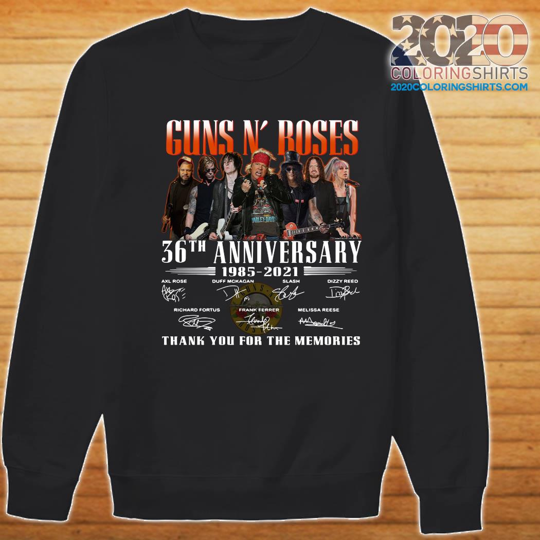 Guns N' Roses 36th Anniversary 1985 2021 Thank You For The Memories Signatures Shirt Sweater