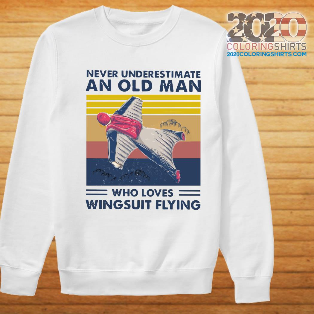 Never Underestimate An Old Man Who Loves Wingsuit Flying Vintage Retro Shirt Sweater