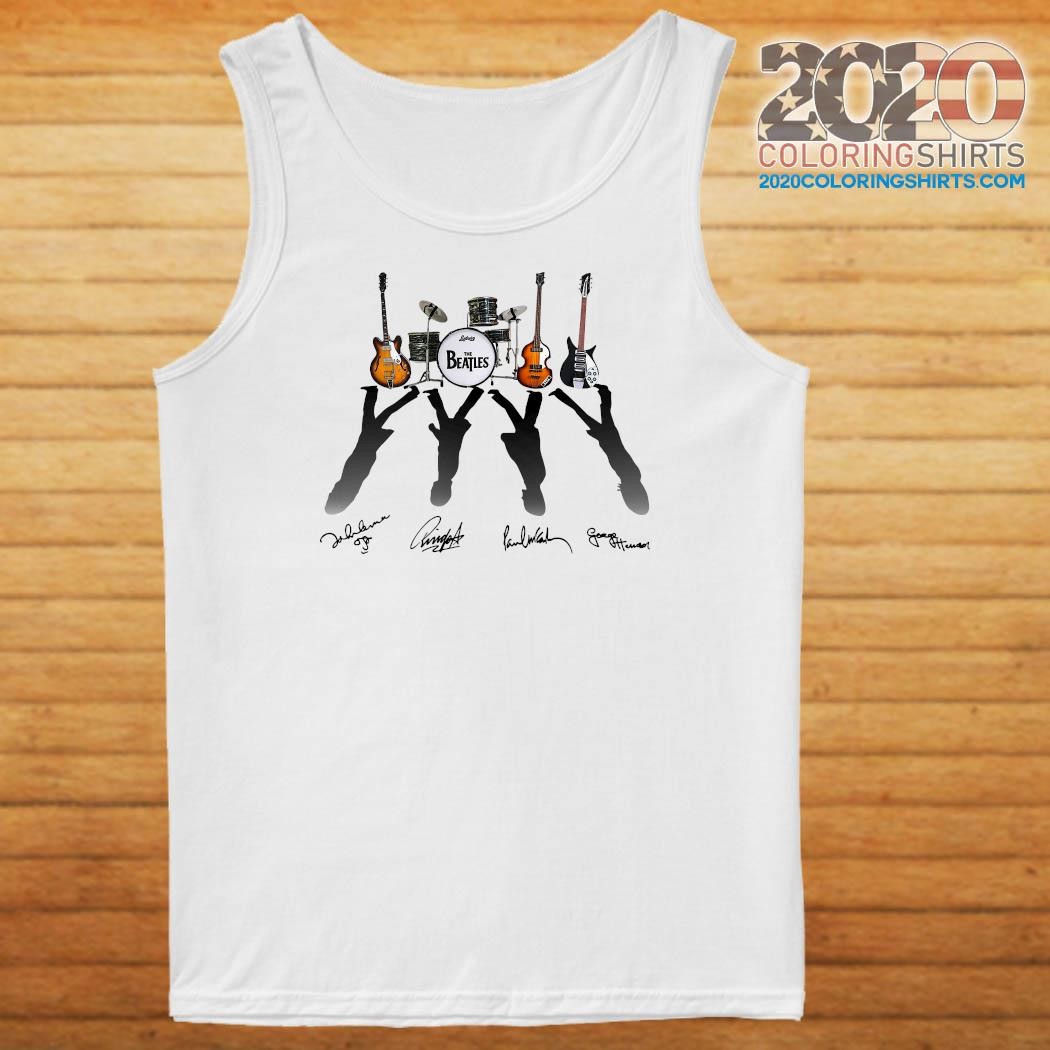Official Ludwig The Beatles Band Guitars And Drum Signatures Shirt Tank top