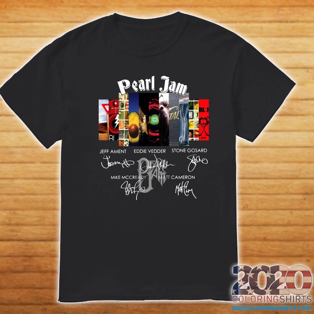 Pearl Jam Logo Jeff Ament Eddie Vedder Stone Gossard Signatures Shirt Shirt