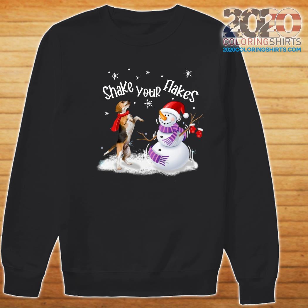 Beagle And Snowman Shake Your Flakes Merry Christmas Sweatshirt