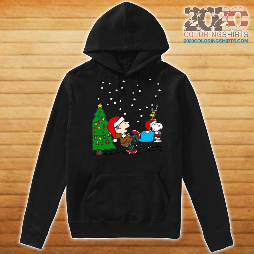 Charlie Brown And Snoopy And Woodstock Merry Christmas Tree Shirt Hoodie