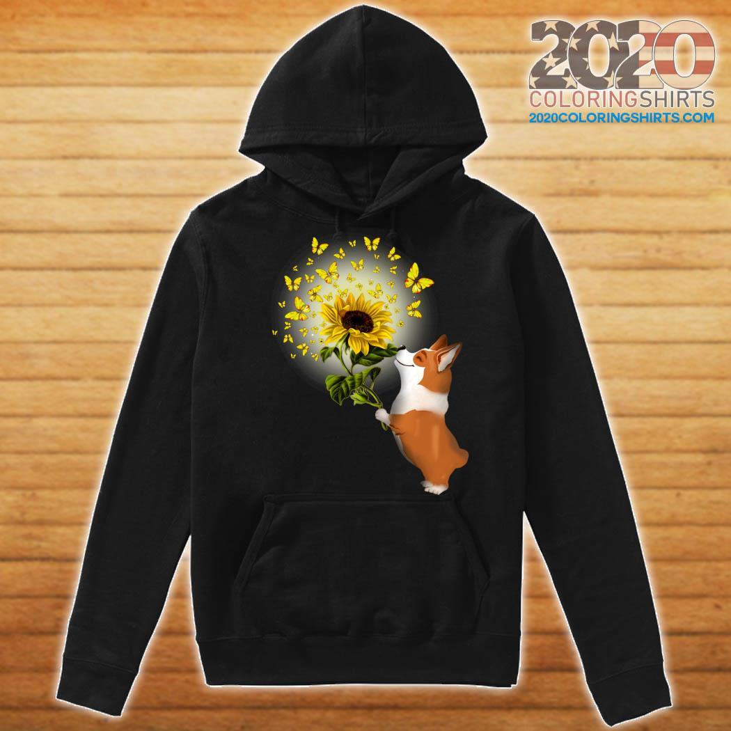 Corgi Butterfly Sunflower Shirt Hoodie