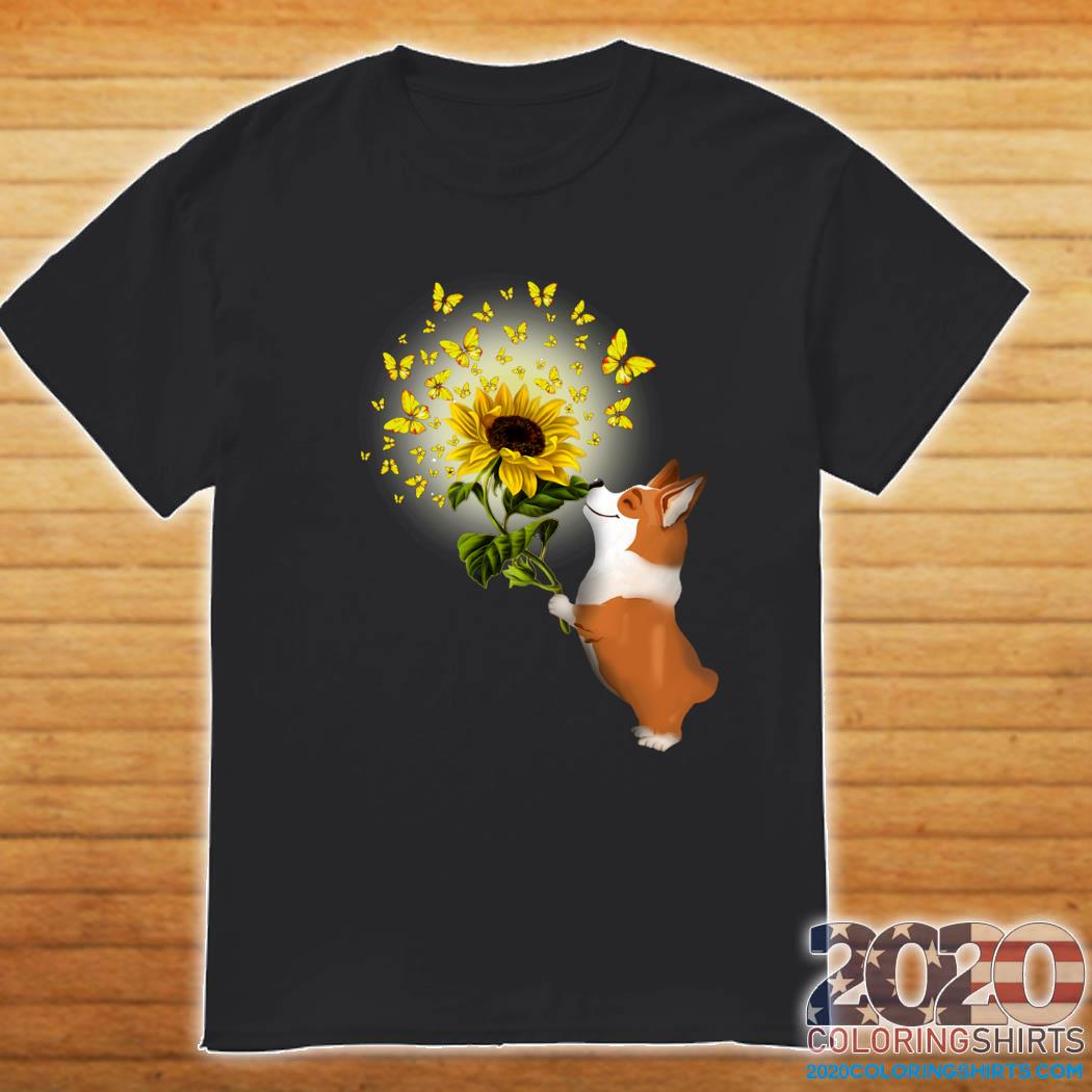 Corgi Butterfly Sunflower Shirt Shirt
